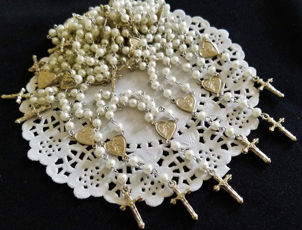 White Rosaries Favors, First Communion Favors, Communion Keepsake, Holly Communion Rosaries 35 Pcs - Cake Toppers Boutique