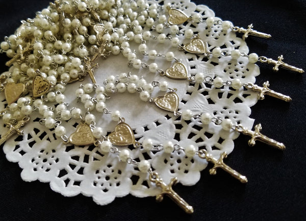 Pearl Rosaries, White Pearl Rosary, Recuerditos de Bautizo 24 pc - Cake Toppers Boutique