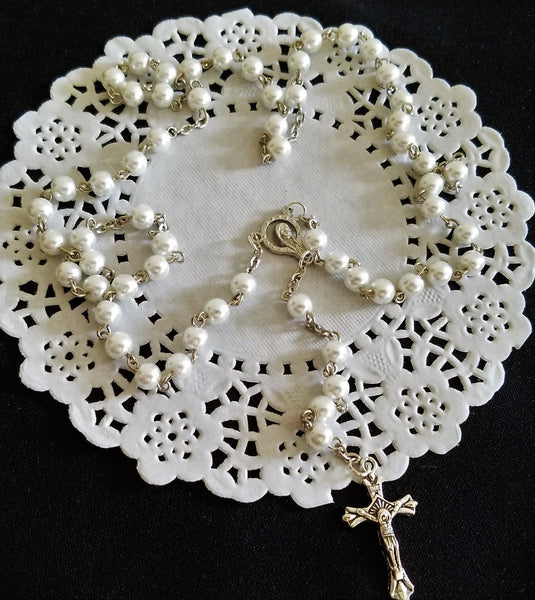 First Communion Silver Rosary Holly Communion Keepsake Baptism Rosary Favors - Cake Toppers Boutique