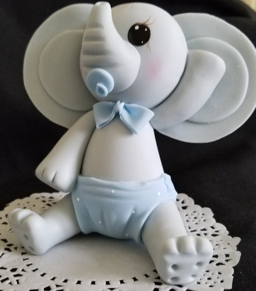 Elephant Cake Topper in  Gray with Pink or Blue Baby Elephant For Cake & Centerpieces - Cake Toppers Boutique
