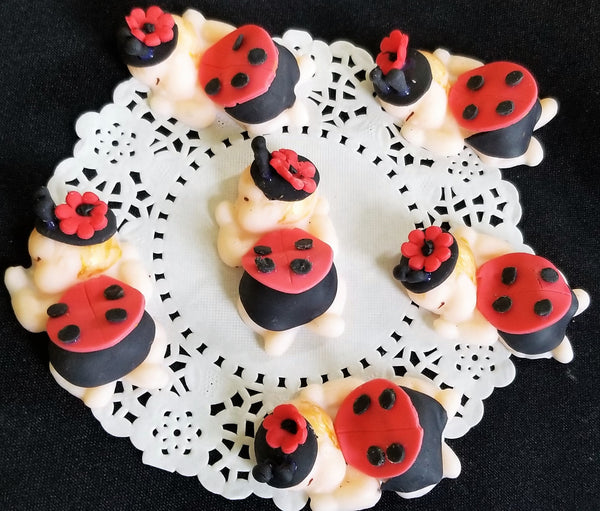 Lady Bug Cake Topper, Red and Black Lady Bug, Lady Bug Baby Shower - Cake Toppers Boutique