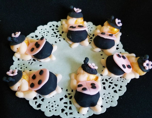 Lady Bug Babies Cupcake Toppers Pink and Black Lady Bug Corsage Figurines Lady Bug Baby Shower - Cake Toppers Boutique