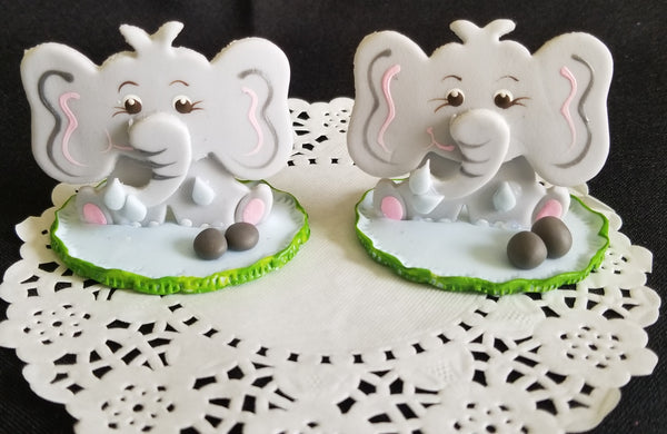 Baby Elephant Favors and Cake Decorations in Gray For Girls and Boys 12pcs - Cake Toppers Boutique