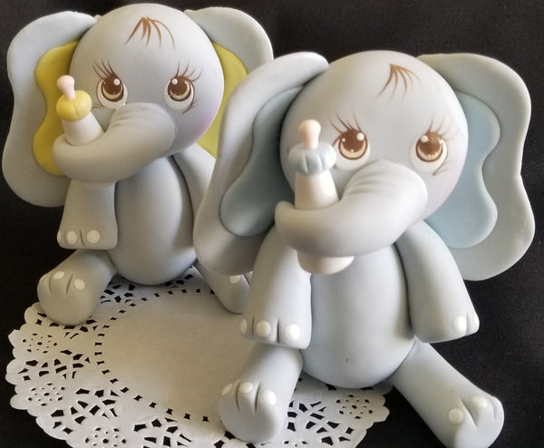 Elephant Cake Topper in Gray with Pink, Yellow or Blue Decoration, Baby Elephant - Cake Toppers Boutique