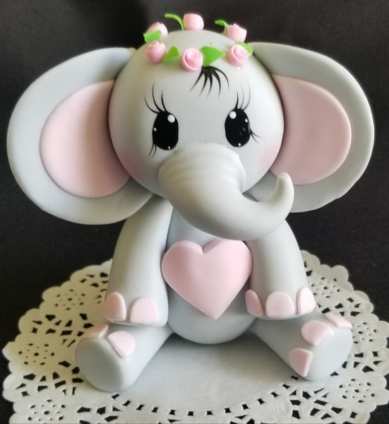 Elephant Cake Topper Baby Shower Elephant in Gray and Pink With Crown - Cake Toppers Boutique