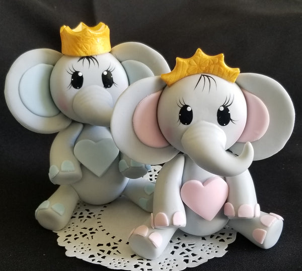 Elephant Cake Topper Elephant in Gray with Pink or Blue and Gold Crown - Cake Toppers Boutique