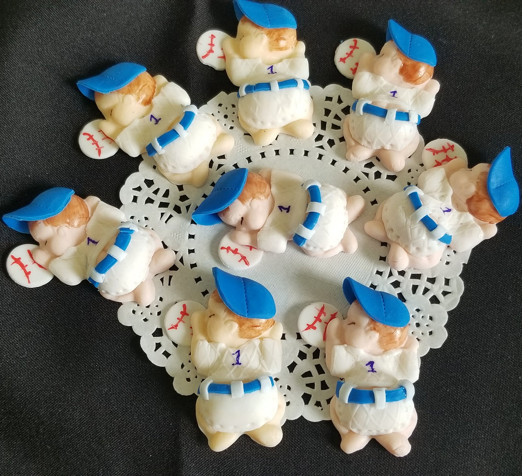 Baseball Baby Shower Decoration Baseball Corsage Figurines Baseball Cupcake Toppers 12pcs - Cake Toppers Boutique