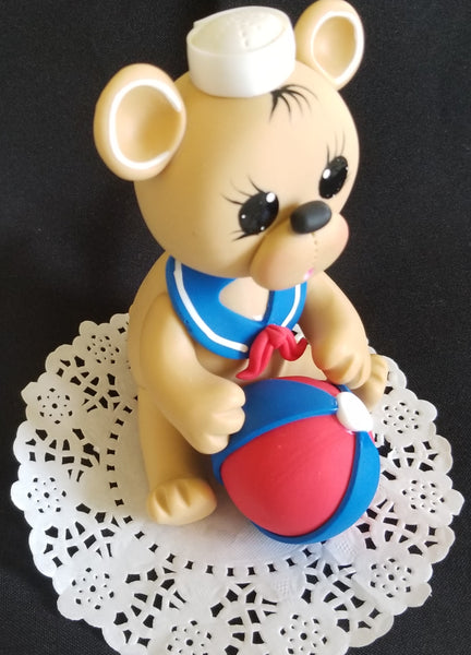 Sailor Teddy Bear Cake Topper Nautical Teddy Bear Baby Bear with Sailor Hat & Sailor Outfit - Cake Toppers Boutique