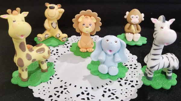 Safari Birthday Decorations Jungle Animals Cake Toppers Giraffe Elephant Monkey Lion Tiger Zebra - Cake Toppers Boutique