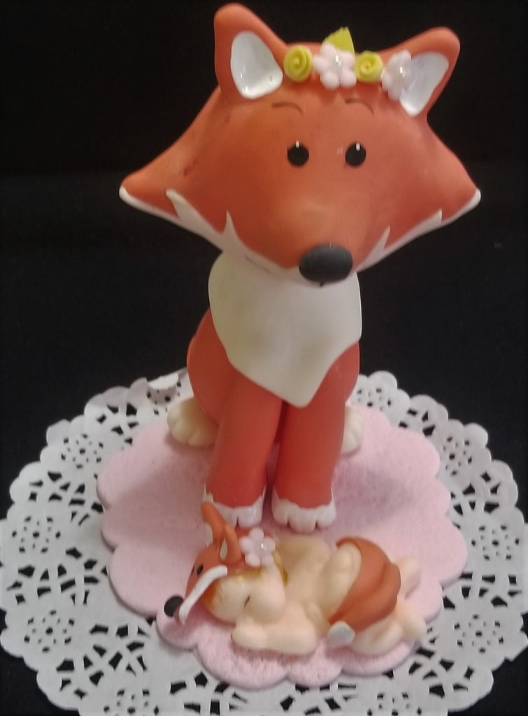 Woodland Cake Toppers Forest Cake Decorations Fox Baby Shower Cake Topper 2 pcs - Cake Toppers Boutique