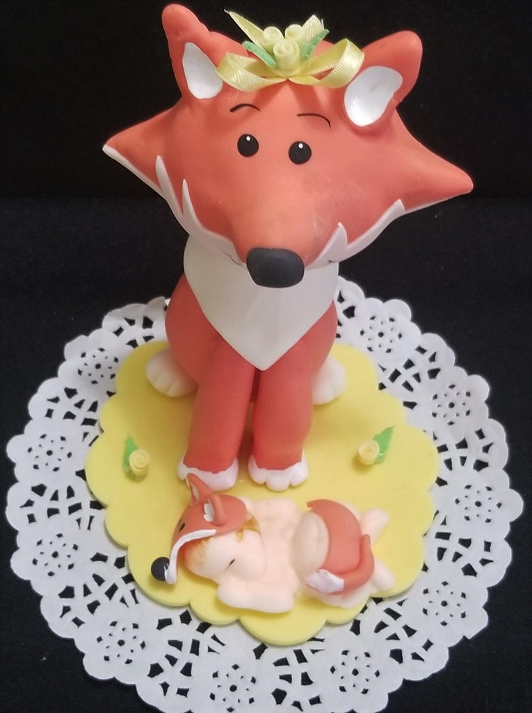 Fox Cake Toppers Forest Cake Decorations Woodland Fox Baby Shower Cake Topper 2 pcs - Cake Toppers Boutique