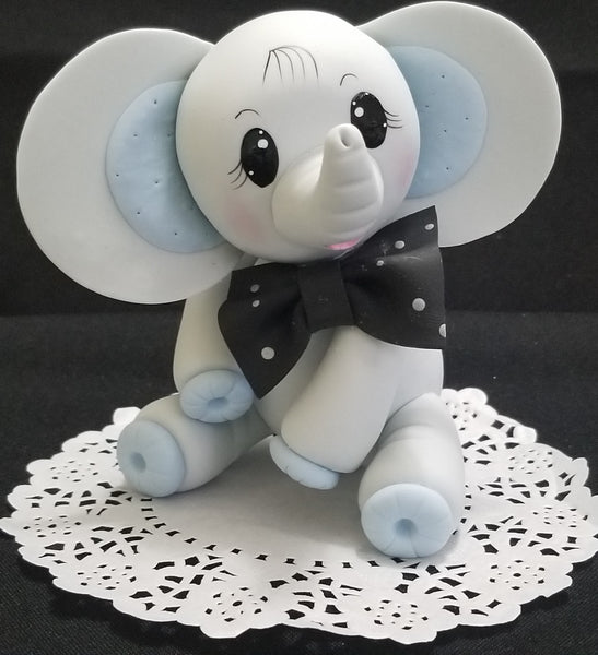 Gray Baby Elephant Cake Topper Gray Elephant Decoration Baby Elephant Cake Topper - C T B