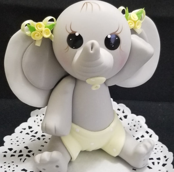 Gray and Yellow Elephant Cake Topper Baby Elephant For Cake and Centerpieces Decorations - Cake Toppers Boutique