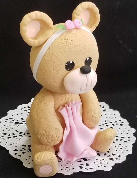 Bear Cake Topper, Teddy Bear For Cake Topper, Bear Cake Decorations, Bear in Blue or Pink - Cake Toppers Boutique