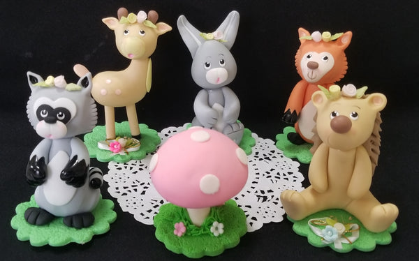 Woodland Cake Topper, Woodland Birthday Decorations, Woodland Baby Shower 6pcs - C T B