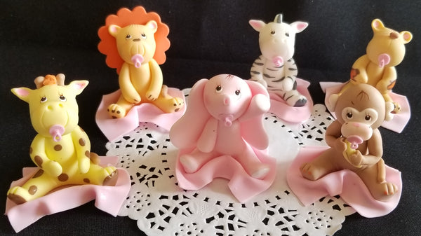 Girl Safari Birthday Decorations Pink Baby Jungle Animals Girly Jungle Cake Toppers - Cake Toppers Boutique