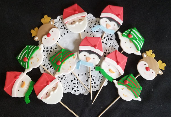 Christmas Cake Decor, Santa Cupcake Topper, Elf Cupcake Topper, Reindeer Cupcake Toppers, Kids Christmas Party - Cake Toppers Boutique