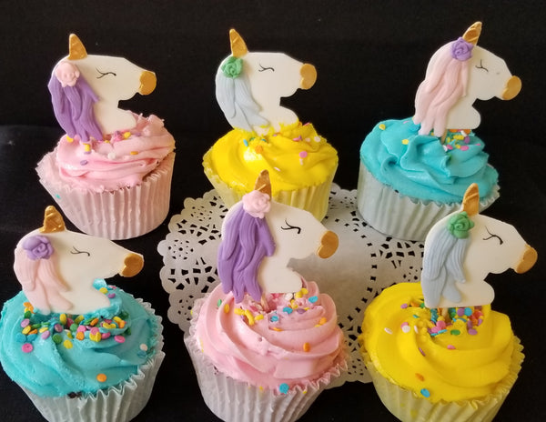 Unicorn Cupcake Toppers, Unicorn Birthday Party, Baby Shower Unicorn, Rainbow Birthday 12pcs - Cake Toppers Boutique