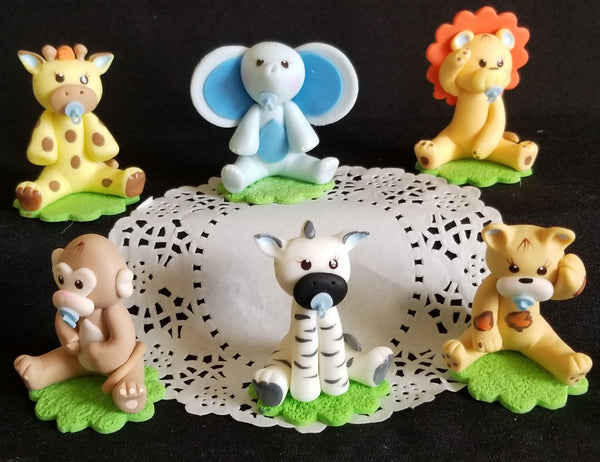 Jungle Animal Cake Decorations Safari Animals Cake Topper Elephant Lion Leopard Giraffe Zebra Monkey - Cake Toppers Boutique