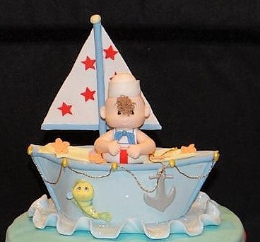 Nautical Cake Decoration Nautical Cake Topper Sailor On Boat Blue, Brown or Pink - Cake Toppers Boutique