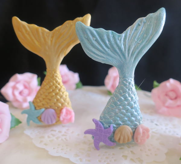 Mermaid Cake Toppers, Baby Shower Mermaid Tail Cake Decorations in Pink, Teal Blue, Gold or Lavender - C T B