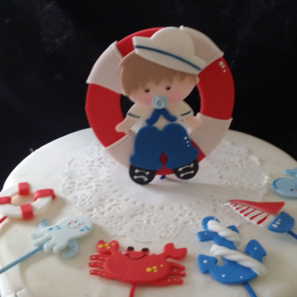 Sailor Cake Topper Nautical Baby Shower Decorations Picks Baby Sailor Centerpiece Picks 7pcs