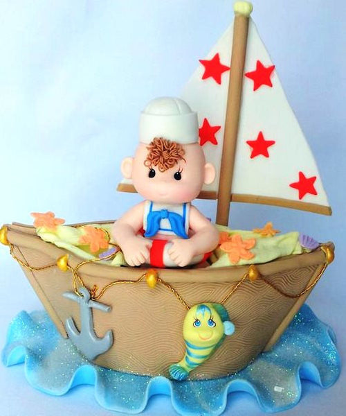 Nautical Cake Topper  Ahoy Nautical Baby Shower Sailor Party Decorations - Cake Toppers Boutique