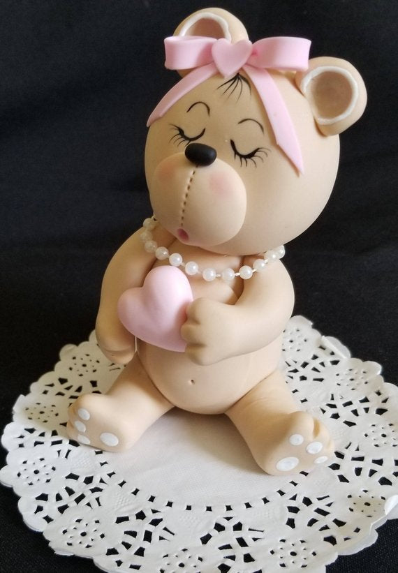 Baby Bear Cake Topper Pink or Blue Bear Cake Topper Baby Bear For Cake - Cake Toppers Boutique