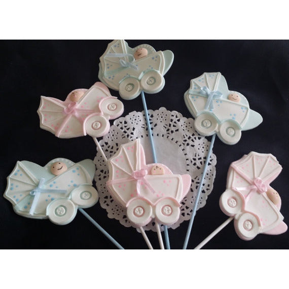 Baby Shower Centerpieces Picks Carriage in Pink or Blue Baby Shower Decoration 6pcs - Cake Toppers Boutique