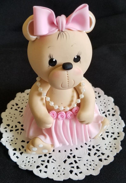 Pink Bear Cake Topper Bear Cake Decorations Girls Teddy Bear with Tutus and Headband Cake Topper - Cake Toppers Boutique