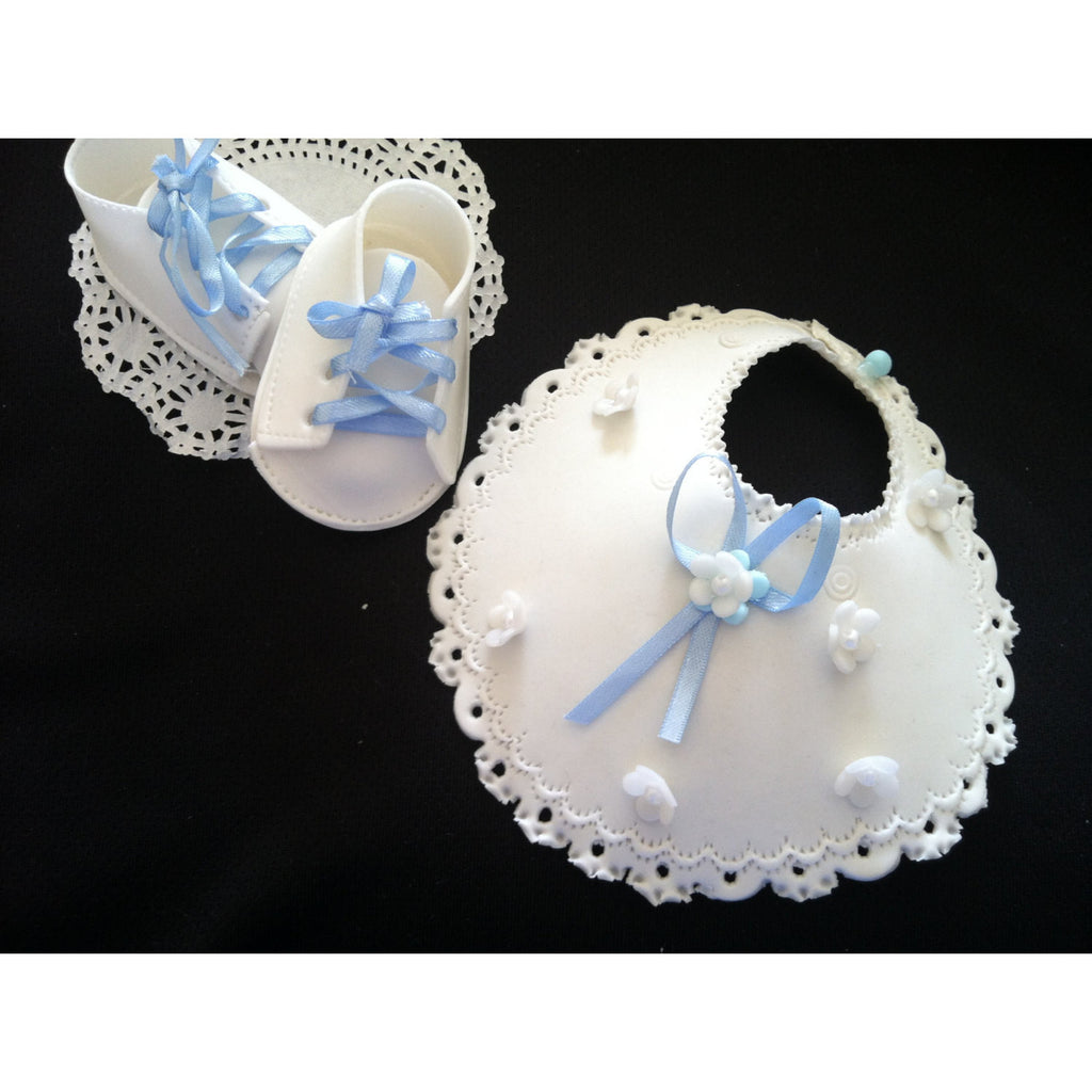 Baby Shower Cake Decoration Baptism Cake Topper Bib And Baby Booties Cake Decoration