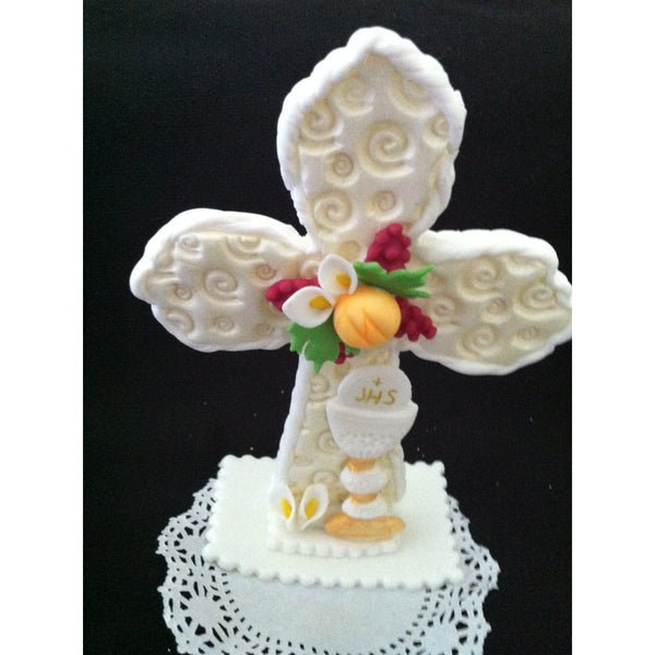 Cross Cake Topper  Baptism Cake Decoration Communion Cross with Chalice Grapes and Bread - Cake Toppers Boutique
