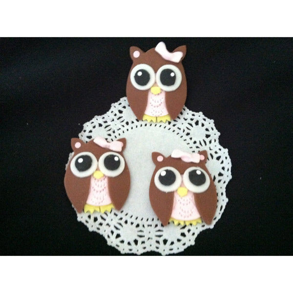 Owl Cupcakes and Cake Decorations Figurines For Birthdays and Baby Shower 12 pcs - Cake Toppers Boutique