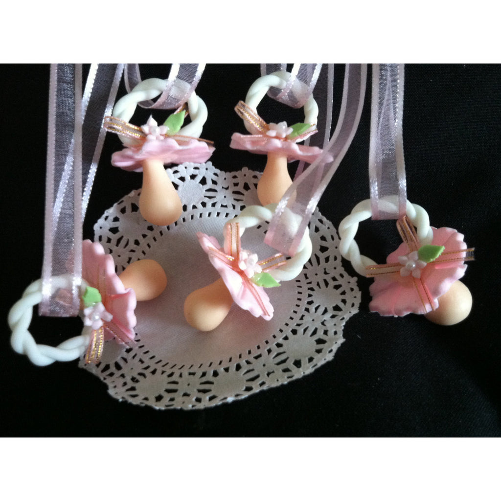 Pacifier Necklace Baby Shower Favors Baby Shower Necklaces in Blue or Pink  12pcs - Cake Toppers Boutique
