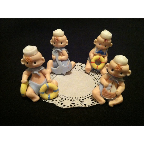 Baby Boy Sailor Cake Topper, Nautical Favors, Baby Shower Nautical Decorations 4pcs - Cake Toppers Boutique