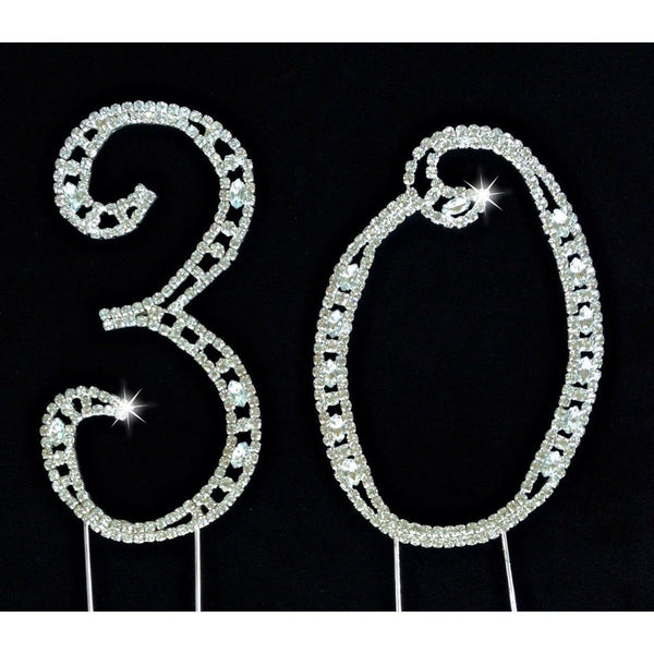 Rhinestone Crystal 30th Birthday, 30th  Anniversary  Cake Topper  Silver, 30th Birthday Cake Topper, Wedding Anniversary Number Cake Topper - Cake Toppers Boutique