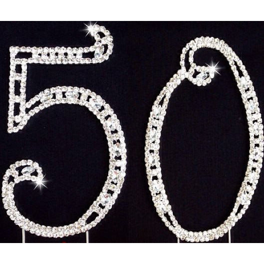 50th Anniversary Silver Cake Topper Rhinestone 50th Birthday Cake Decorations - Cake Toppers Boutique