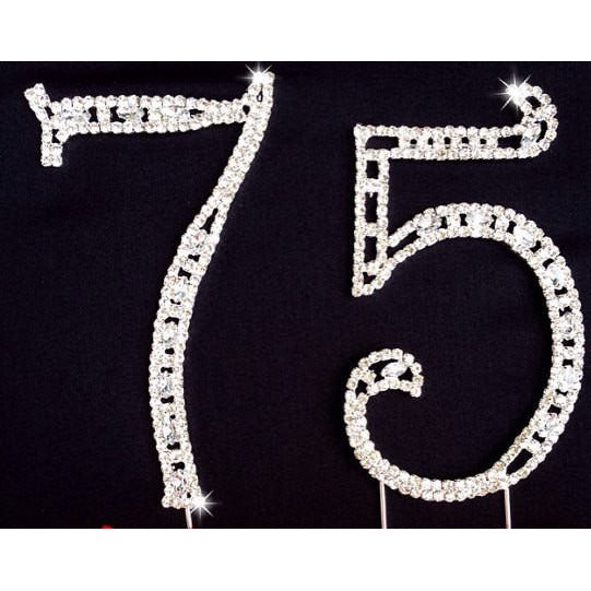 75th Birthday Cake Decorations Silver  75th Anniversary Cake Topper with Rhinestone - Cake Toppers Boutique