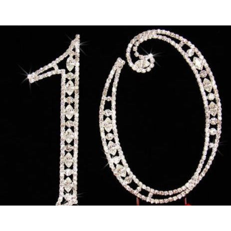 10th Birthday Cake Topper, 10th Anniversary Cake Topper In Silver - Cake Toppers Boutique
