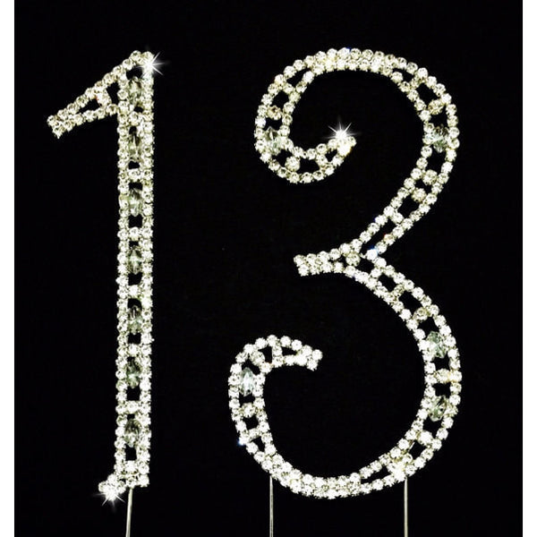 Silver Number with Rhinestone Cake and Centerpieces Decorations for Birthdays and Anniversaries - Cake Toppers Boutique