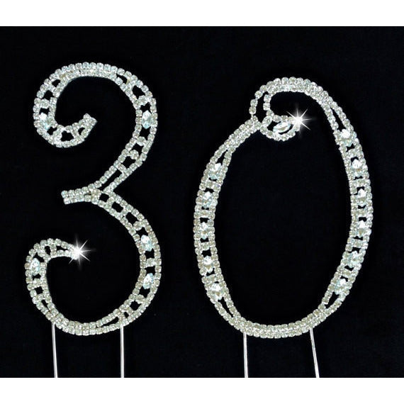 30th Birthday Rinestones Cake Decorations in Silver Anniversary Cake Topper - Cake Toppers Boutique