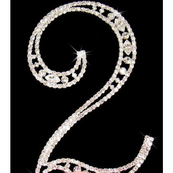 21st Birthday Cake Topper 21st in Silver with Rhinestone Cake Decoration - Cake Toppers Boutique