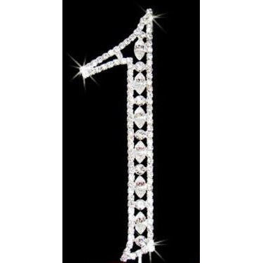 11th Birthday Cake Topper, Rhinestone Cake Toppers in Silver - C T B