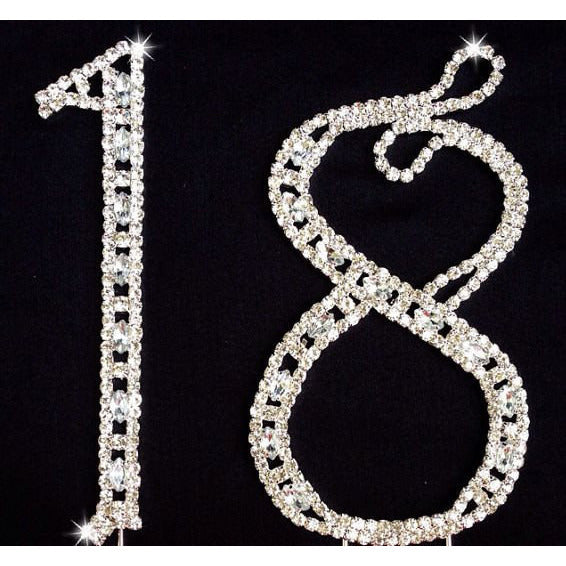 18th Birthday and Aniversary Cake Topper in Silver with Rhinestone Decorations - Cake Toppers Boutique