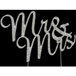 Mr & Mrs  Wedding Cake Topper, Mr and Mrs Silver Cake Decoration, Rhinestone Letter Cake Topper, Monogram Letter Topper Mr  Mrs - Cake Toppers Boutique