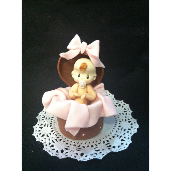 Baby Girl Cake Topper Pink & Brown Baby Shower Decorations Girl or Boy Baby Shower - Cake Toppers Boutique