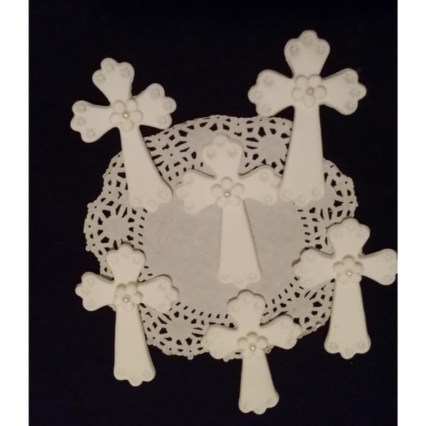 White Crosses for Baptism and First Communion Cupcakes, Decorations and Favors 12pcs - Cake Toppers Boutique