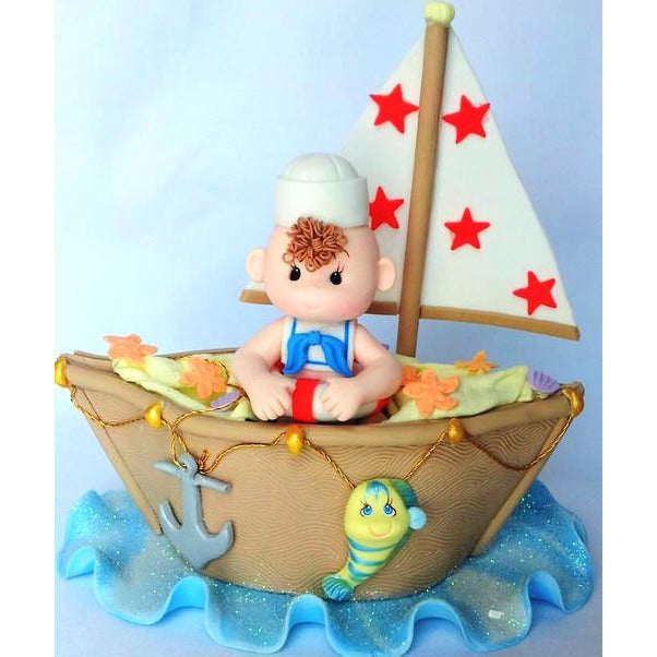 Sailor Baby Cake Topper Nautical Baby Shower Decoration Sailor On Boat in Blue, Pink or Brown Boat - Cake Toppers Boutique