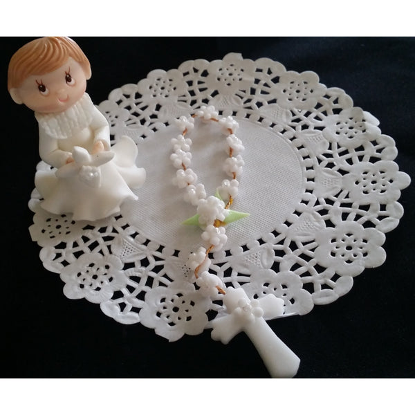 First Communion or Baptism Cake Topper Girl or Boy with Bibble & Rosary Cake Decorations - Cake Toppers Boutique