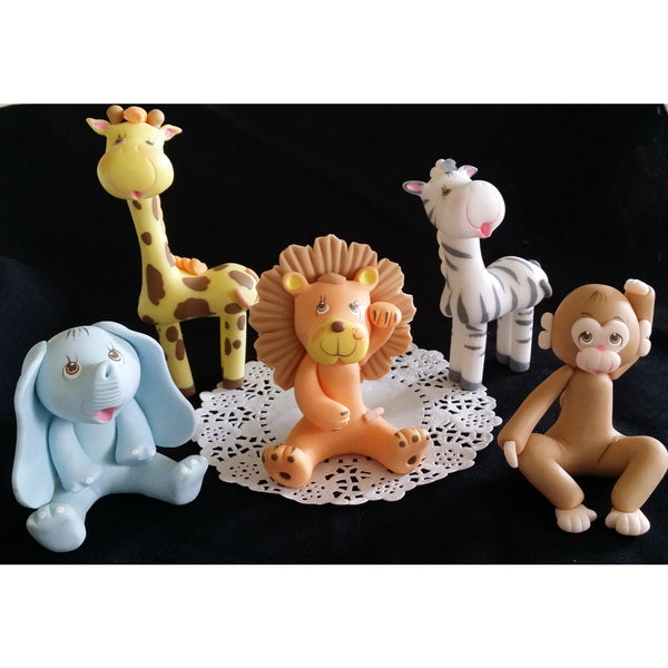 Jungle Cake Topper Safari Baby Zoo Animals Elephant Lion Giraffe Zebra Monkey Palm 6pcs - Cake Toppers Boutique